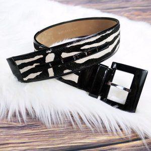 ann taylor ∙ calf hair zebra print belt